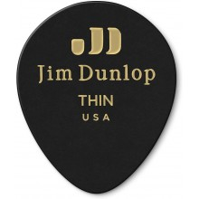Dunlop 485P03TH Genuine THIN Celluloid Tear Drop, 12 Pick Player's Pack, Black
