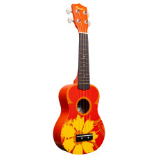 Amahi DDUK5 Tropical Series Soprano Size Ukulele with Gig Bag - Orange Flower