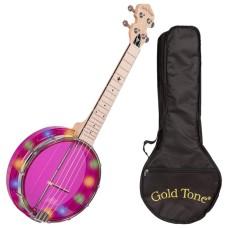 Gold Tone Little Gems LGLT-A See-Through Light-Up Banjo Ukulele, Amethyst w/Bag