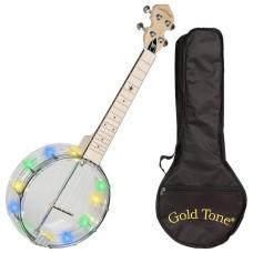 Gold Tone Little Gem Light Up Diamond Clear Concert Banjolele Banjo Ukulele +Bag