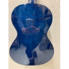 Oscar Schmidt OU2TFTBL Transparent Blue Flame Mahogany Tenor Size Ukulele - BLEM