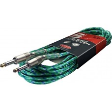 20' Vintage Tweed Green Cloth Covered Guitar Amp Cable Cords Stagg SGC6VT GR