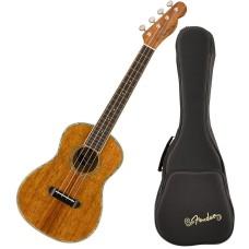 Fender Montecito Tenor Size Natural Hawaiian Koa Ukulele with Gig Bag